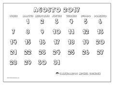 Gratis! Calendarios para agosto 2017 para imprimir