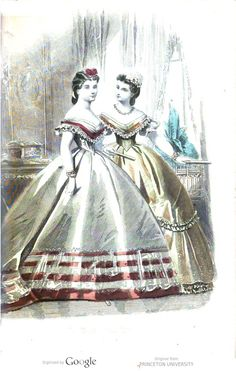 Peterson's 1865 Ball dress of White silk (left), trimmed with bands of crimson velvet, over which falls a broad flounce of white lace.  The body is made to correspond with the skirt.  Headdress of crimson velvet.  Ball Dress of Lemon-Colored Satin (right). The skirt is trimmed with a flounce of white lace and ruchings of satin.  The body is finished to correspond.  Headdress of small ostrich plumes.