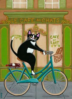 French Cafe cat on a bicycle ~ Ryan Conners