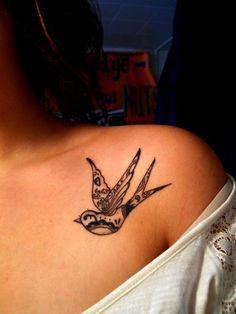 Elegant Bird Tattoo On Shoulder