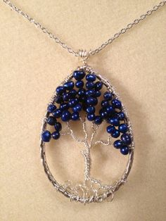Sapphire Pearl Tree of Life Handmade Jewelry by Just4FunDesign, $32.00