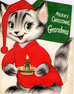 #Christmas #vintage #greeting #cat #grandma