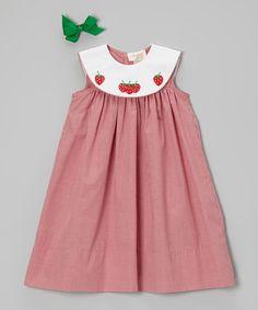 Look what I found on #zulily! Red Strawberry Yoke Dress - Infant, Toddler & Girls by Rosalina #zulilyfinds