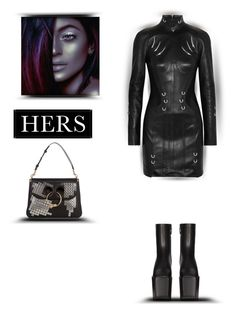 """""""Hers"""" by zabead ❤ liked on Polyvore featuring Thierry Mugler, J.W. Anderson, Universal Lighting and Decor, Balenciaga, Leather and edgy"""