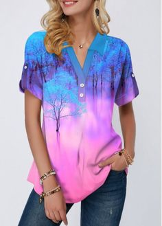 Tie Dye Collarless Tree Print t Shirt for Women-Purple,Size XL Button Detail Printed Roll Tab Sleeve Blouse Trendy Tops For Women, Blouses For Women, Women's Blouses, Look Fashion, Womens Fashion, Printed Blouse, Knitwear, Casual Outfits, Women's Casual