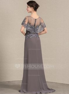 A-Line/Princess Scoop Neck Sweep Train Chiffon Lace Mother of the Bride Dress - Mother of the Bride Dresses - JJ's House Mob Dresses, Event Dresses, Wedding Party Dresses, Fashion Dresses, Bridesmaid Dresses, Mother Of The Bride Dresses Long, Mothers Dresses, Gowns With Sleeves, Special Occasion Dresses