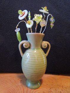 Olive Green Button Flower Arrangement by BeckysButtonShop on Etsy