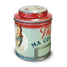 Boîte à thé métal « Miss Fifties » - Natives - Déco rétro & vintage