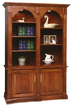 Amish Twin Crescent Moon Bookcase Distinguished wood bookcase for library or office, the Twin Crescent Moon offers a lovely case for books and items to display. Handcrafted in America in choice of wood and stain. #bookcase #office #library