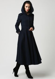 Womens Long Navy Blue Wool Coat with Hood and Ruffle Detailing (1102)