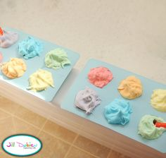 rainbow shaving cream bath paint.     How to make it:    1. squirt some foaming shaving cream in each of the 6 compartments of your muffin tin  2. add food colouring to each one to make whatever colours you want - I did rainbow colours. Mix them up well.  3. give to your kiddo in the tub and let them have a blast!