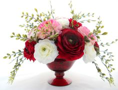 red flower arrangements centerpieces | ScentedSilks™ - Ranunculus Centerpiece | MonsterMarketplace.com