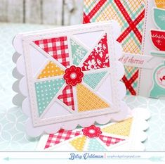 Quilt Mini Cards by Betsy Veldman for Papertrey Ink (May 2015)