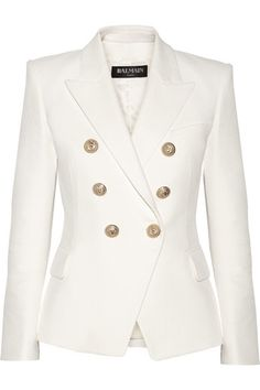 Balmain | Double-breasted basketweave cotton blazer | NET-A-PORTER.COM