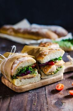 Make Chicken + Pesto Ciabatta Sandwiches for lunch or dinner using this easy recipe.