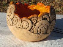 Keramikschale Keramik Deko Schale orange braun