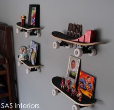 "I did a similar thing for my teen sons room using his broken skateboards ( he himself had salvaged the wheels and trucks so they arent on) and ""L"" brackets which cost me $3.00 for 10 of em. The grip tape already on the top of the board helps keep things in place. I also hung his snowboard as wall art at his request. :)"