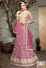You seems an angel in this fashionable pink color new pattern ghagra lehenga choli for wedding anniversary online shopping collection with COD service in India. #lehengacholi, #designercholi more: http://www.pavitraa.in/store/designer-collection/