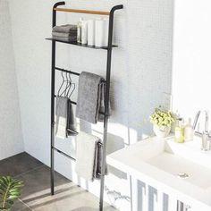Yamazaki Home Black Steel & Wood Wide Leaning Ladder Hanger Bathroom Ladder, Bathroom Towels, Small Bathroom, Ladder Hanger, Mini Bad, Adjustable Shelving, Space Saving, Small Spaces, Furniture