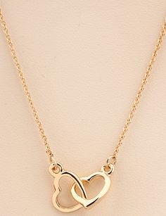 Gold Hollow Heart Necklace - Sheinside.com