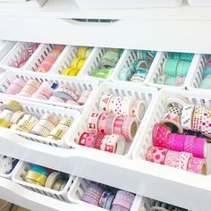 Cute and functional washi tape storage for your craft room, planner desk, or scrapbook space. Ikea Alex drawers with all white containers create a calm, organized solution for your washi collection. More eye candy like this at instagram.com/yespleaseplanning