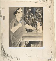 Mr. Zorach (William Zorach Sculpting a Figure of a Cat) |  Pen and ink drawing, with white over graphite, 1940 | Aline Fruhauf