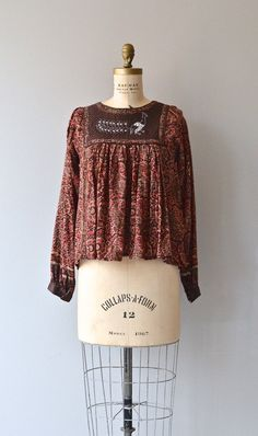 Melek Taus tunic vintage 1970s India cotton blouse by DearGolden