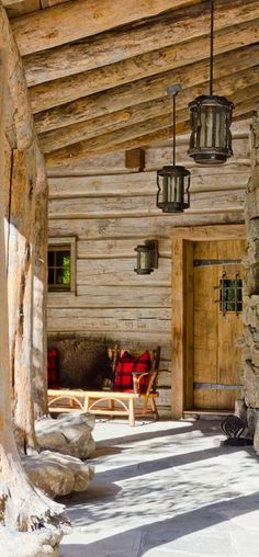 Canadian Log Homes, Rustic cabins and this porch is lovely!