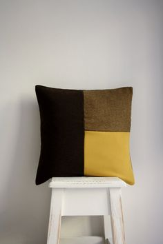 Yellow Cushion / Brown Patchwork Cushion / Yellow Pillow by gattta