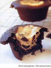 David Lebovitz (chocolate god extraordinaire) has a great recipe for black-bottom cupcakes--devil's food cupcakes with cheesecake filling. No frosting needed.