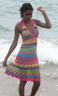 This Handmade crochet dress 02 Multicolor is just one of the custom, handmade pieces you'll find in our dresses shops. Beau Crochet, Cotton Crochet, Knit Crochet, Dress Patterns, Crochet Patterns, Style Patterns, Fashion Patterns, Knitting Patterns, Vestido Multicolor