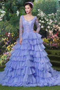 Dathybridal バックレス パープル レースアップ ボールガウン チャペル #チュール ロングスリーブ フリル イリュージョン #カラードレス 結婚式 花嫁ドレス Cfz0003