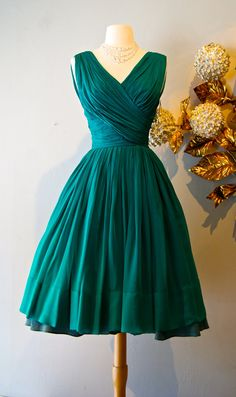 Vintage 50's Emerald Green Silk Chiffon Cocktail Party Dress by Miss Elliette
