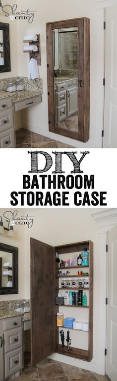 DIY Rustic Bathroom Organization Cabinet with full length mirror…. LOVE THIS IDEA!