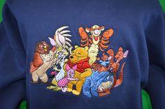 The Disney Store Winnie the Pooh Tigger Eeyore Embroidered sweatshirt xl #Disney #ButtonFront