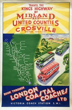How lovely to explore Britain via long lost carriers and their fleets of gloriously vintage coaches! King Travel, London Poster, Bus Coach, Coaches, Buses, Posters, Modern, Trainers, Trendy Tree