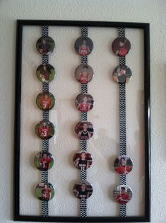 sports button display | Sports pins displayed for grad party