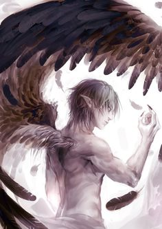 21 Angel art_by_genki_de - Seraph Male Angels, Angels And Demons, Male Fallen Angel, Fantasy Creatures, Mythical Creatures, Angel Warrior, Ange Demon, Supernatural Beings, Angel And Devil