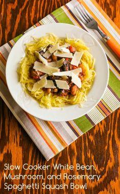 Slow Cooker White Bean, Mushroom, and Rosemary Spaghetti Squash Bowl