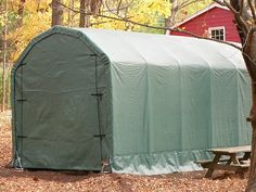Humor 12x24x8 Round Style Rhino Shelter Garden Structures & Shade Awnings & Canopies