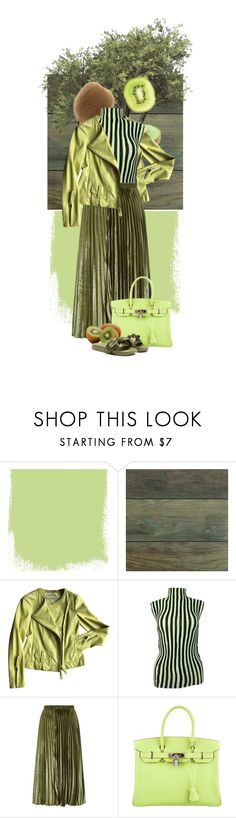 """""""A Kiwi Day"""" by krystallenever ❤ liked on Polyvore featuring Home Decorators Collection, Dorothee Schumacher, Issey Miyake, Whistles, Hermès and Puma"""