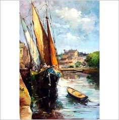 Original Oil On Canvas 'At The Quayside' on eBid United Kingdom Oil On Canvas, United Kingdom, Original Paintings, Sculptures, Auction, Waves, Hand Painted, The Originals, Gallery