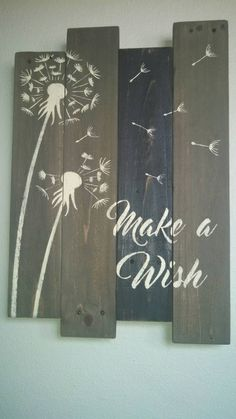 Dandelion Make A Wish pallet sign. by Hidesertcreations on Etsy