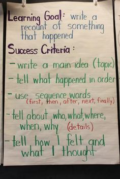 success criteria for a writing a recount