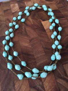 Rwandan Paper Bead Necklace Mint Paper Bead Necklace di GoodGali
