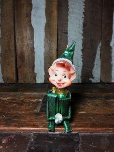 Vintage Christmas Holiday Knee Hugger Pixie Elf Sitter Ornament Figure