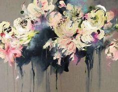 Sfeervol romantisch schilderij van een impressie van bloemen op natuurlijk linnen