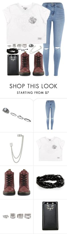 """""""I need a savior to heal my pain"""" by rocketsheep ❤ liked on Polyvore featuring Miss Selfridge, River Island, French Connection, Dr. Martens, Forever 21, Charlotte Olympia, lyrics, bringmethehorizon and starset"""