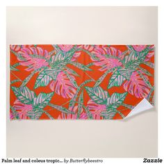 Shop Palm leaf and coleus tropical fire beach towel created by Butterflybeestro. Custom Beach Towels, Tropical Design, Pool Days, Fire And Ice, Coral Pink, Beach Day, Print Design, Palm, Vibrant