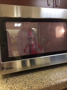 Our elf on the shelf was in the microwave! #ChristmasTradition #ElfontheShelf